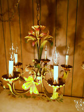 GORGEOUS Vintage 5 - Arm/Light Italian Lily Flower Tole Chandelier  SWAG - CHAIN