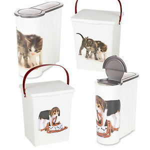 Dog Cat Pet Food Storage Container Box Bucket Bin Table Top Kitchen Cereal Style