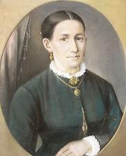 """Louis FRITZE 1810-1896 Wrought Field Sun Mountain/Pastel Portrait """"Caroline Koch"""""""