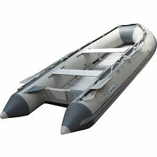 BRIS 10.8 ft Inflatable Boat  Raft Fishing Dinghy Tender Pontoon Boat Gray