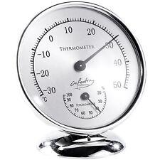 Feuchtigkeitsmesser: Analoges Thermometer mit Hygrometer, 10 cm