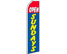 Open Sundays Red / White / Blue / Yellow Swooper Super Feather Advertising Flag