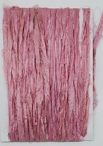 Pastel Pink Sari Silk Ribbon.5 metres.Crochet,weave, braid, fibre arts, textiles