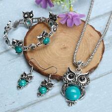 Women Blue Turquoise Stone Owl Pendant Necklace Earrings Bracelet Jewelry Set
