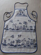 WHITE BLUE WILLOW KITCHEN APRON ORIENTAL CHINESE JAPANESE ASIAN PAGODA UNUSED