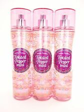 Bath Body Works 3 Twisted Peppermint Fragrance Mist Body Spray Holiday 8oz Set