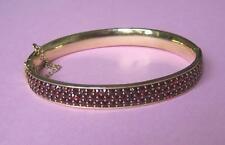 Wunderschöner 3-reihiger Granatarmreif 925 Silber vergoldet * Granat Edelsteine