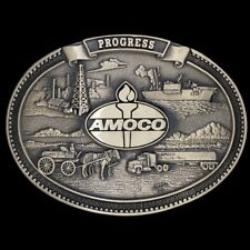 Vtg NOS Amoco Progress Gas Oil Field Rig Derrick Crude Tanker Brass Belt Buckle