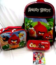 "Angry Birds 16"" Backpack,Angry Birds Lunchbox,Pencil Case&Stationary Combo-NewM"