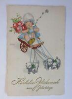 Geburtstag, Kinder, Wagen, Hund, Blumen  1929, Hannes Petersen  ♥ (38152)