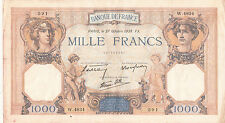 Billet banque 1000 Frs CERES ET MERCURE 27-10-1938 FX W.4834 état voir scan