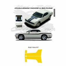 Dodge Challenger 2010 to 2011 Hood Stripes Graphic Kit - Bright Yellow
