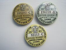 Three New York State 1941 Hunting Buttons license