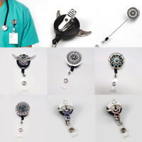 Retractable Lanyard Reel Strap Pull ID Card Badge Tag Clip Holder Hospital