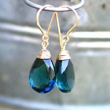 London Blue Topaz Earrings Wire Wrapped 14k Gold Filled , December Birthstone