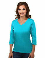 Tri-Mountain Women's Fitted Interlock 3/4 Sleeve V-Neck T-Shirt. 131