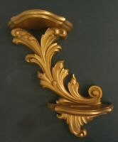 Vintage 1975 Homco Home Interiors Gold Wall Shelf Two Tiered Excellent Condition