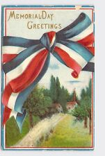VINTAGE PATRIOTIC POSTCARD DECORATION MEMORIAL DAY RED WHITE AND BLUE RIBBON TIE