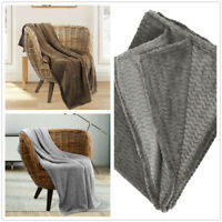 Fleece Blanket Super Soft Luxury Wavy Texture Throws Sofa Bed Warm Large Settee