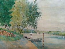 L. L. Robineau - XIXe Siècle - Barques Sur La Seine a Herblay - Dessin