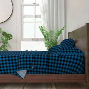 Buffalo Check Plaid Royal Blue Blue 100% Cotton Sateen Sheet Set by Roostery