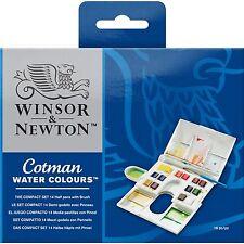 Winsor & Newton Cotman Watercolour The Compact Set -14 Colour Half Pans & Brush