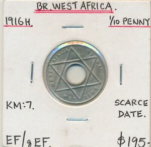 British West Africa 1916H 1/10 Penny KM-7 EF or Better Scarce Date