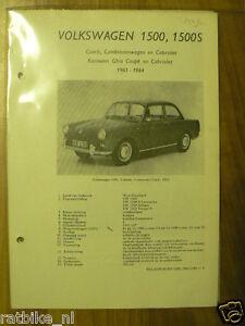 V29-VOLKSWAGEN 1500,1500S, COACH,COMBINATIEWAGEN,CABRIO CAR