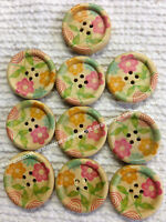 10 x FLORAL PASTEL COLOURED DAISY FLOWER WOODEN BUTTONS - 28mm - #B969