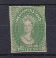 T242) Tasmania 1857-67 watermark numeral 2d Yellow-green SG 32