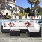 7pcs Outdoor Sectional Sofa Coffee Table Set Rattan Patio Garden Furniture Set