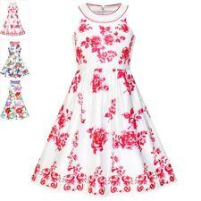 Sunny Fashion Girls Dress Red Flower Halter Flare Dress Princess Size 5-14