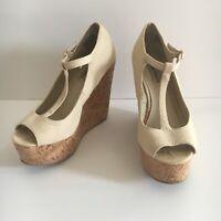 Steve Madden Women's Cream Langleyy Canvas Peep Toe T Strap Cork Wedges Size 8.5