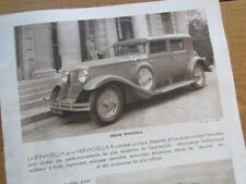 AFFICHETTE PUBLICITAIRE RENAULT NERVASTELLA REINASTELLA RALLYE PARIS CANNES 1930
