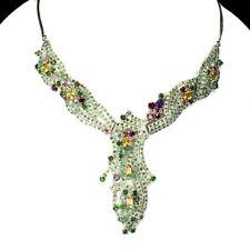 Citrine Emerald Rhodolite Garnet Tourmaline Gems 925 Sterling Silver Necklace