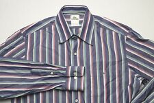Lacoste Mens Button Down Shirt Size 40 Medium Blue Green Red Striped