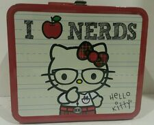 Hello Kitty Lunch Box, I Love Nerds, Metal Tin Case, Plaid, Great condition