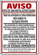 Supplemental Equine Liability Sign SPANISH warning statute horse stable farm