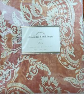 Pottery Barn Alessandra Floral Drape Pole Top Red 50 x 96 New