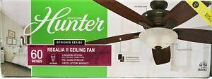 Hunter Regalia II Bronze or Nickel 60in Indoor 5-Blade Ceiling Fan + Light Kit