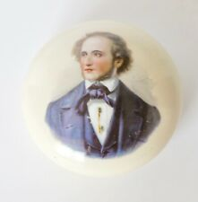 "Vintage Paperweight Transferred Portrait On Porcelain 3"" D"