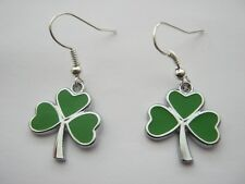 Green Shamrock Drop Earrings for St Patrick's Day Celtic Jewellery