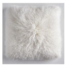 Mongolian Sheepskin Real Wool Cushion Genuine Long Fur Pillow Z Gallerie - White