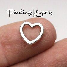 20 Open Heart Charm Links, Antique Silver Metal 11 x 10 mm - 099