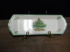 "Mint Nut Tray Christmas Tree Multi Color Green Trim 9 1/4"" Long Spode England"