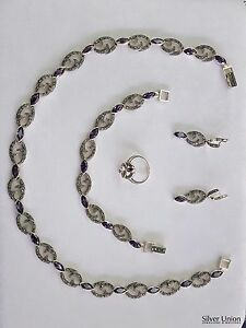 925 Sterling Silver Set w Marcasite Amethyst Stones-Bracelet-Ring-Necklace-Ring