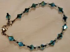Sterling Silver Blue Crystal Glass Bead Bracelet Lobster Clasp