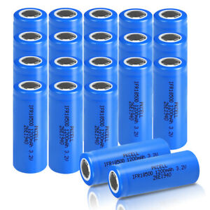 20X IFR 18500 LiFePO4 Li-ion Rechargeable Batteries 3.2V 1200mAh Battery PKCELL
