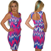 PINK BLUE SCUBA WIGGLE PENCIL  DRESS BODYCON SIZES 8-16 ROCKABILLY ALTERNATIVE