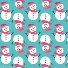 Christmas Fabric Freedom 100% Cotton Cute Snowmen Snowman Blue 50 x 110cm